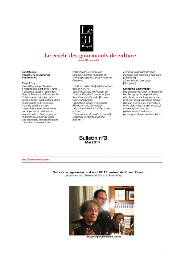 Le Cercle Des Gourmands De Culture Bulletin N3