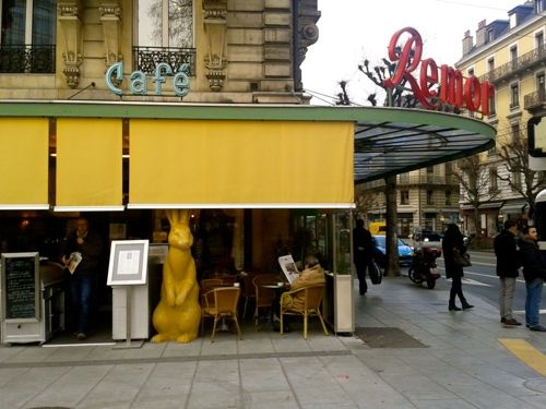 Geneva, Switzerland - Plainpalais, Cafe Remor outside - Geneva Airport car hire Swiss side